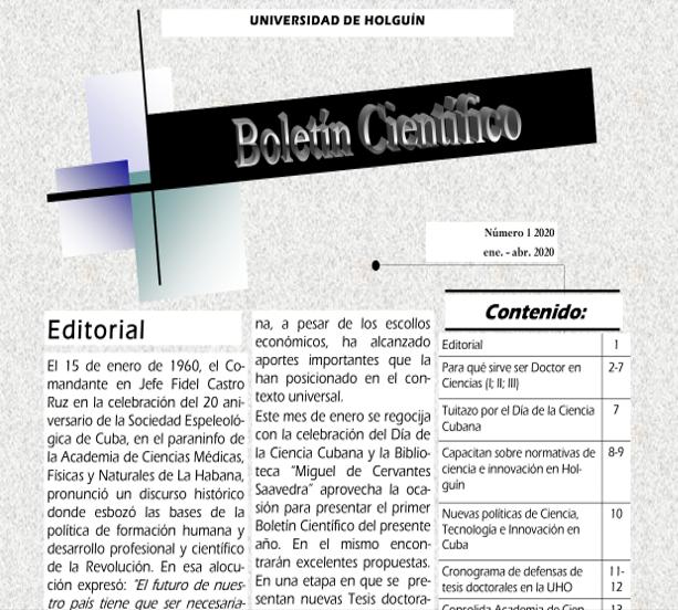 Primera edición del 2020 del Boletín Científico